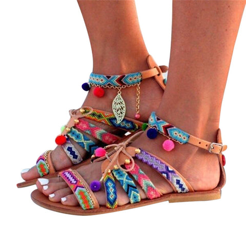 New Bohemia Gladiator Leather Pom Sandals - Salty 9