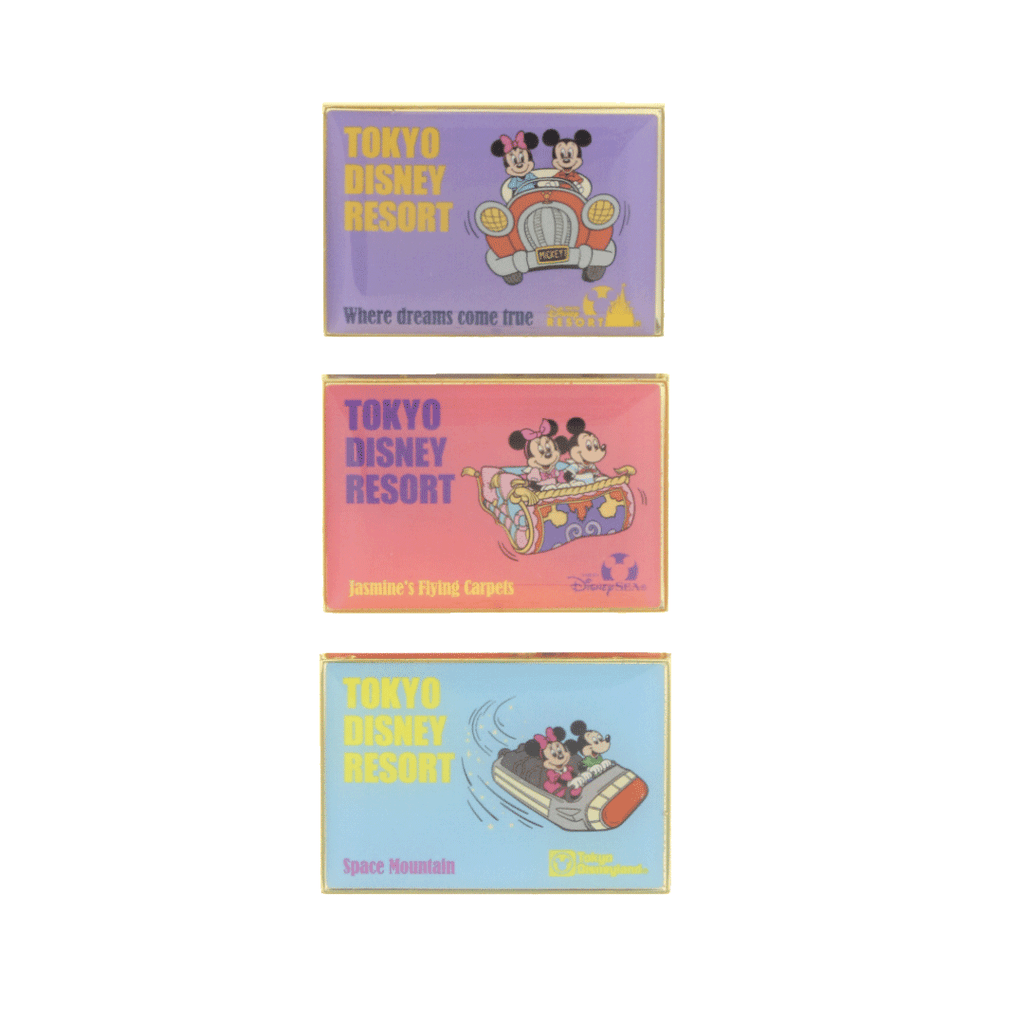 Tokyo Disney Resort Retro Park Attractions Pin Set