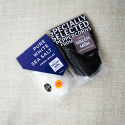 Halen Môn Pure White Sea Salt + Black Peppercorn Bundle