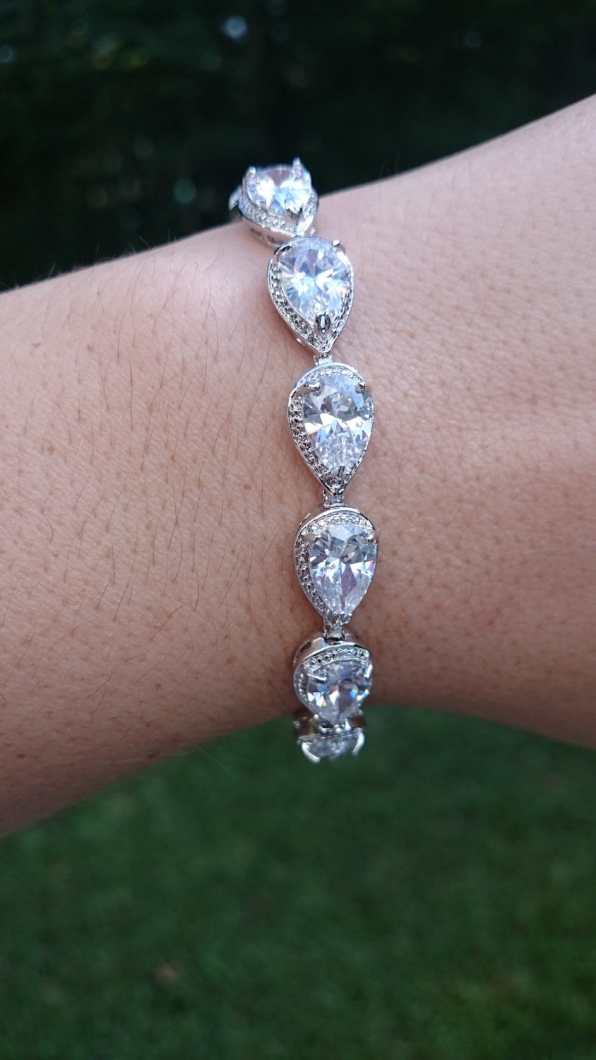 Bridal bracelet, wedding bracelet, cz bracelet, cubic zirconia bracelet, bridal jewelry, Teardrop, wedding accessories, pear cz bracelet