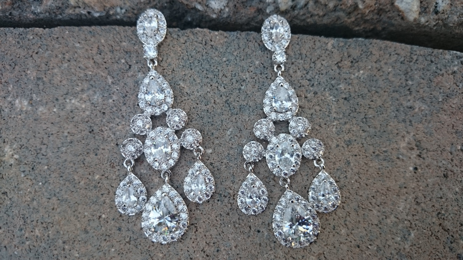 1dbadb27ef6eb Bridal Earrings, CZ Bridal Chandelier Earrings, Pageant Earrings, Statement  Luxury Earrings, Pear Oval Drop Dangle Earrings, Bridesmaid Gift