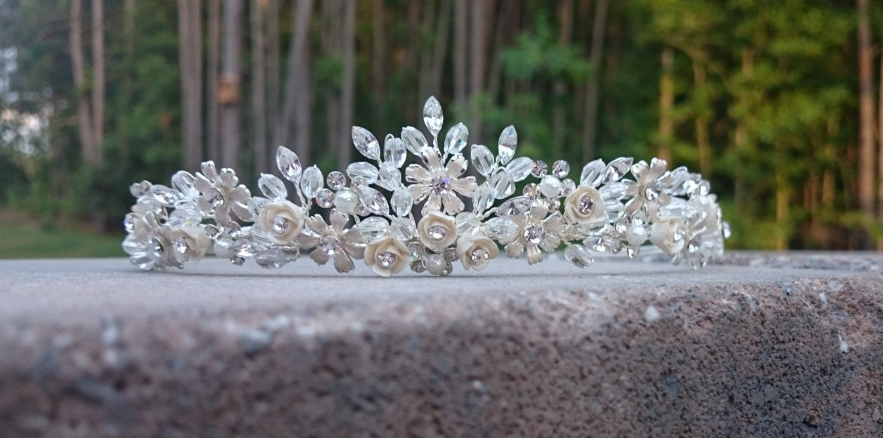 Silver Swarovski Crystal Pearl Bridal Tiara Crown Headband Floral Flower Rhinestone Wedding crown Halo Hair vine ivory beaded headpiece