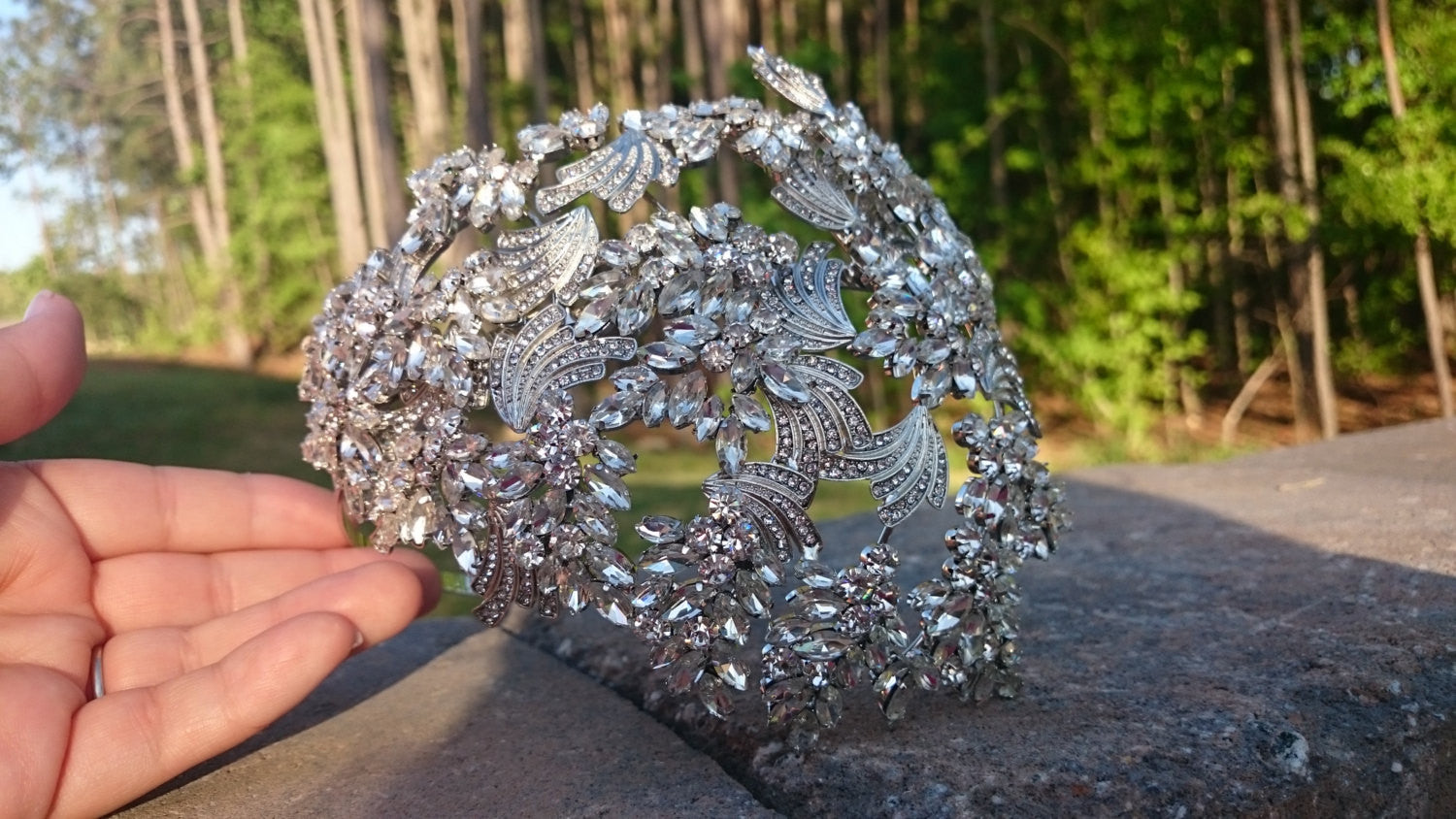 Bridal Headband, Vintage Style Bridal Headpiece, Swarovski Crystal and CZ Side Accent Tiara Headband Leaves Vine Statement Hair Wrap