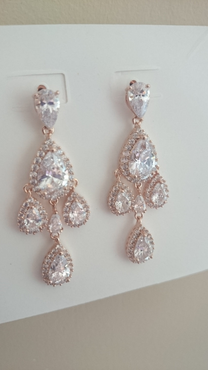 Rose gold Bridal earrings Couture Chandelier earrings, rose gold bridal earrings, cz earrings, CZ, Statement Earrings