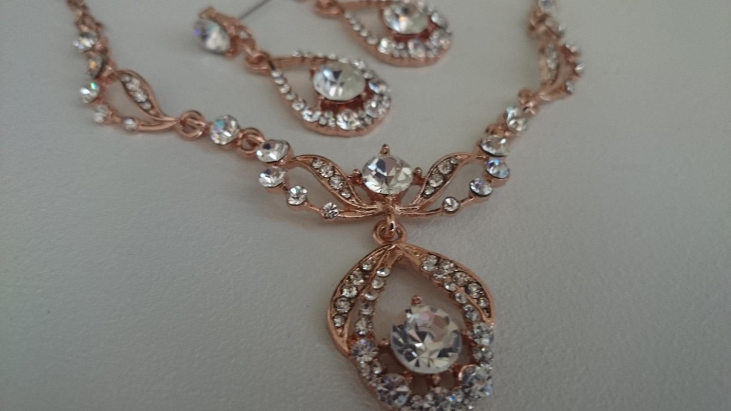 Rose Gold CZ Bridal Jewelry Set