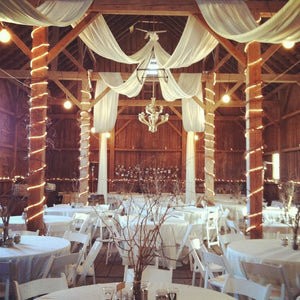600 feet 54 inch Wide White Tulle Bolts Wedding Barn Decor Ceiling Drapery Curtains