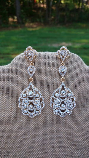 Light Gold Champagne Crystal Bridal Chandelier Earrings Great Gatsby Style Art Deco Downton Abbey Great Gatsby Style