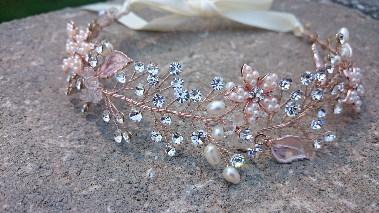Rose Gold Swarovski Crystal Hair Vine Headband