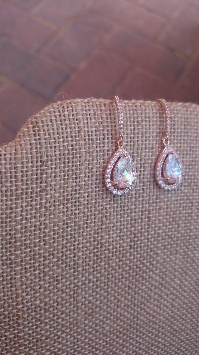 Kate Middleton Earrings, Rose Gold Earrings, Bridal Earrings, Dangle Earrings, Bridesmaid Gift, CZ Earrings, Teardrop Earrings