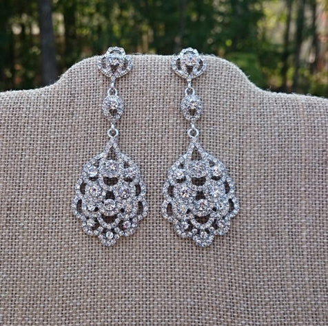 Art Deco Earrings, Bridal Earrings, Antique Silver Crystal Earrings Great Gatsby Style, Bridesmaid Gift, Downton Abbey, Vintage