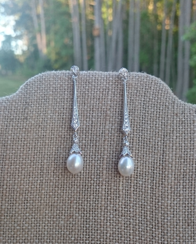 Pearl Earrings, Long Bridal Earrings, Art Deco Earrings, Vintage Style Earrings, Dangle Earrings, Bridesmaid Earrings, Gift