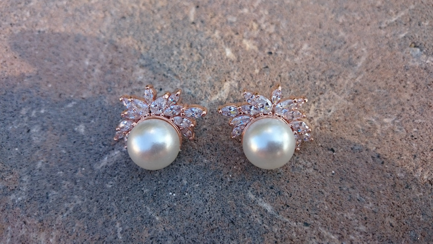 Rose Gold Vintage Inspired Pearl Stud Bridal Earrings