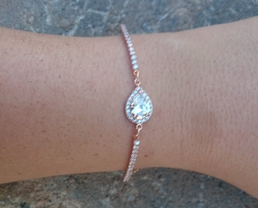 Rose Gold Bracelet, CZ Bracelet, Teardrop, Pear Shape, Bracelet, Wedding Bracelet, Bridal Bracelet, Rose Gold, Bridesmaid Gift, Bridesmaids