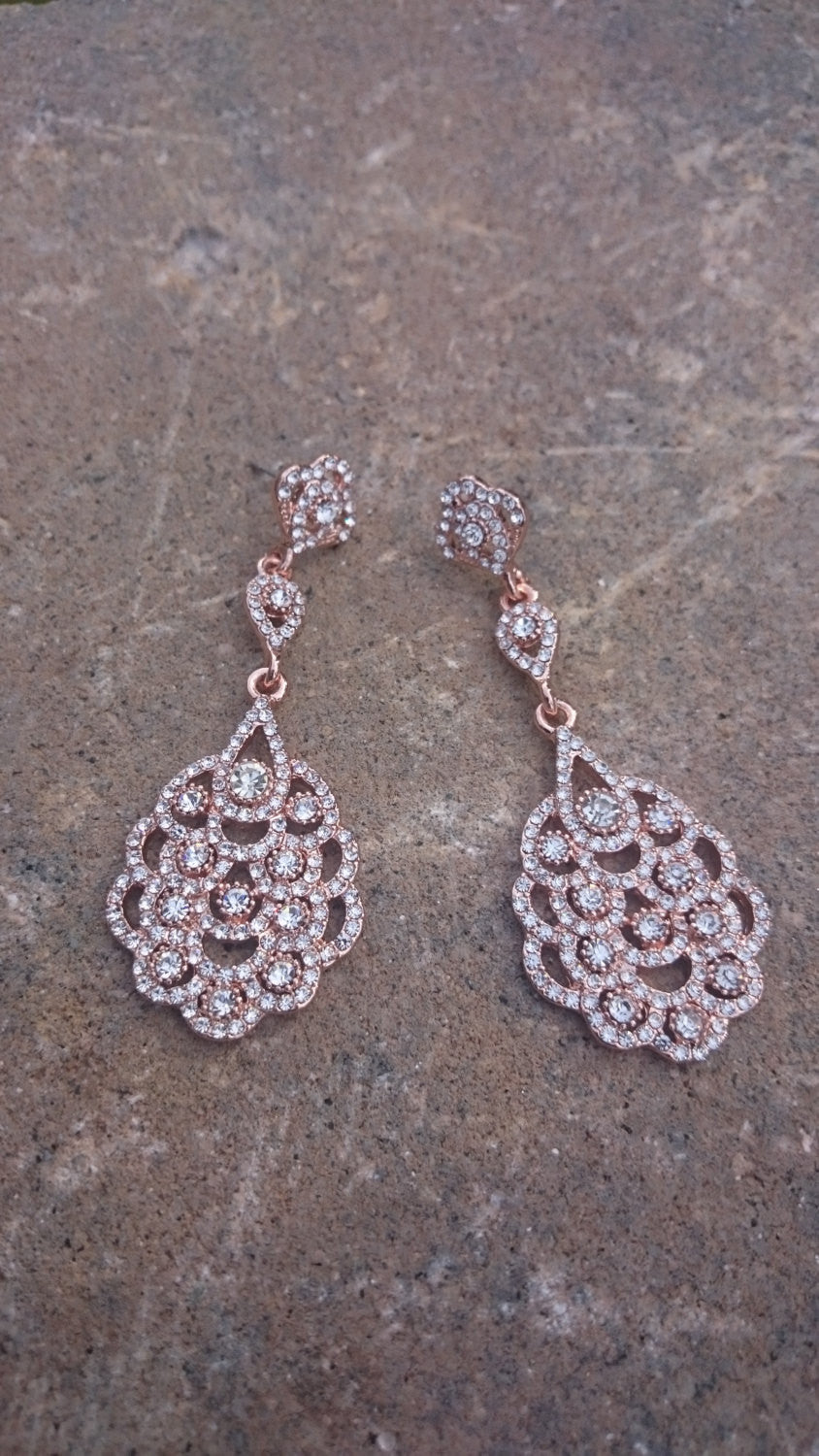Rose Gold Earrings, Rose Gold Bridal Earrings, Art Deco Earrings, Rose Gold, Great Gatsby Style, Bridesmaid Gift, Downton Abbey, Vintage
