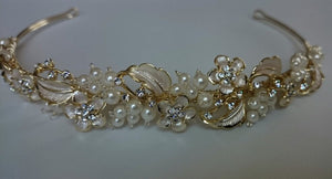 Bridal Tiara, Bridal Headband, Light Gold Ivory Pearl & Rhinestone Floral Headband, Crystal Headband, Leaf Headband, Leaves, Champagne