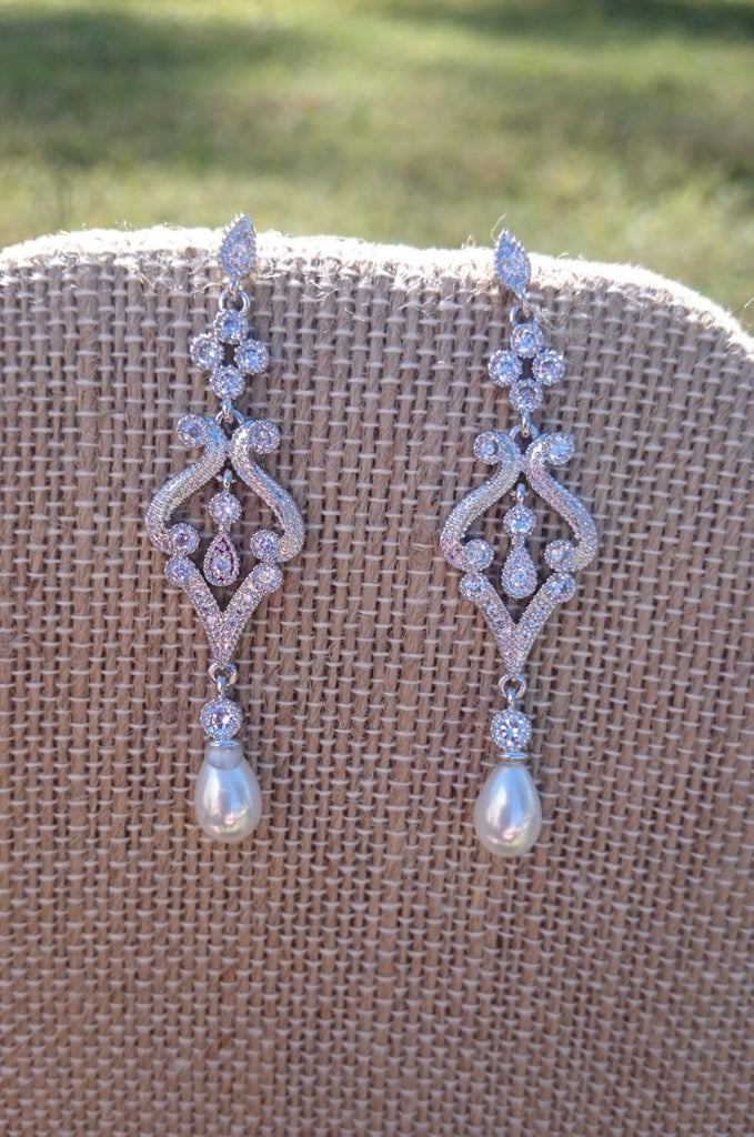 Vintage Style Pear Earrings, CZ, Bridal Dangle Earrings, Wedding, Jewelry, art deco, downton abbey, antique, pearl dangle, pearl wedding