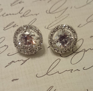 Halo Earrings, Kate Middleton CZ earrings, stud earrings, pave earrings, wedding jewelry, bridal jewelry, bridal earrings, Bridesmaids Gift