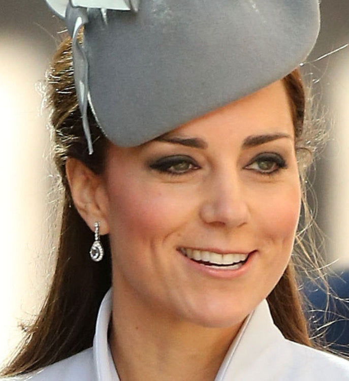 Kate Middleton inspired CZ earrings, Bridal Wedding Earrings, Pear Shape Tear Drop Style