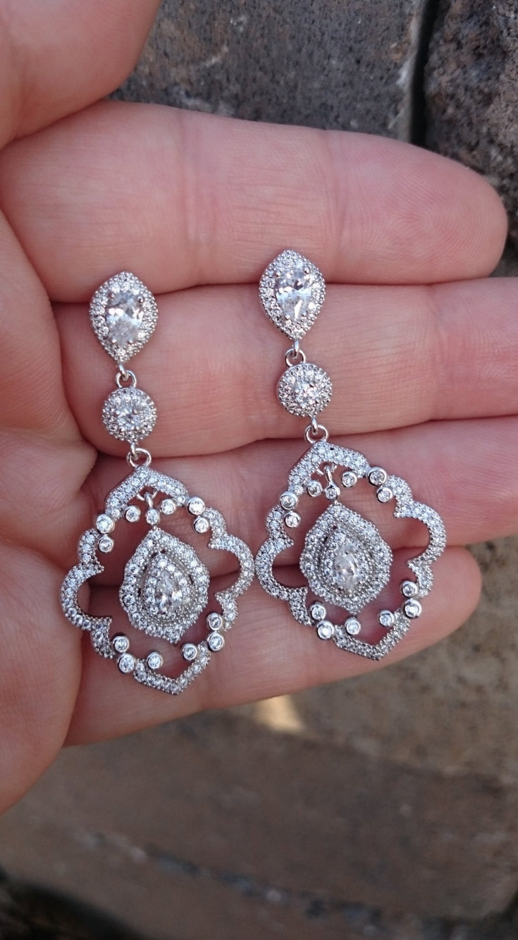 1920s Art Deco Gatsby Inspired Bridal Crystal Earrings, Downton Abbey Wedding Earrings, Chandelier Long Earrings Great Gatsby