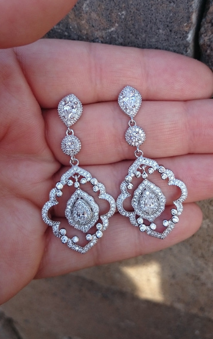 Art deco chandelier earrings cz bridal earrings wedding jewelry art deco chandelier earrings cz bridal earrings wedding jewelry chandelier earrings arubaitofo Choice Image