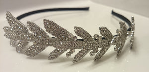 Bridal headband, crystal headband, leaves headband, leaf vine headband, branches, silver headband, wedding headband
