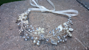 Bridal Headband, Silver, Swarovski Crystal, Pearl Headband, Bridal Hair Vine, Headband, crystal, Hair Vine, Wedding, Tiara, rustic, woodland