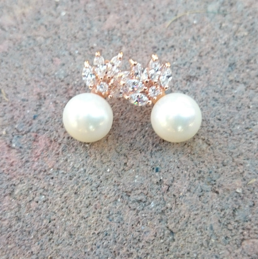 Rose Gold Pearl Stud Bridal Earrings