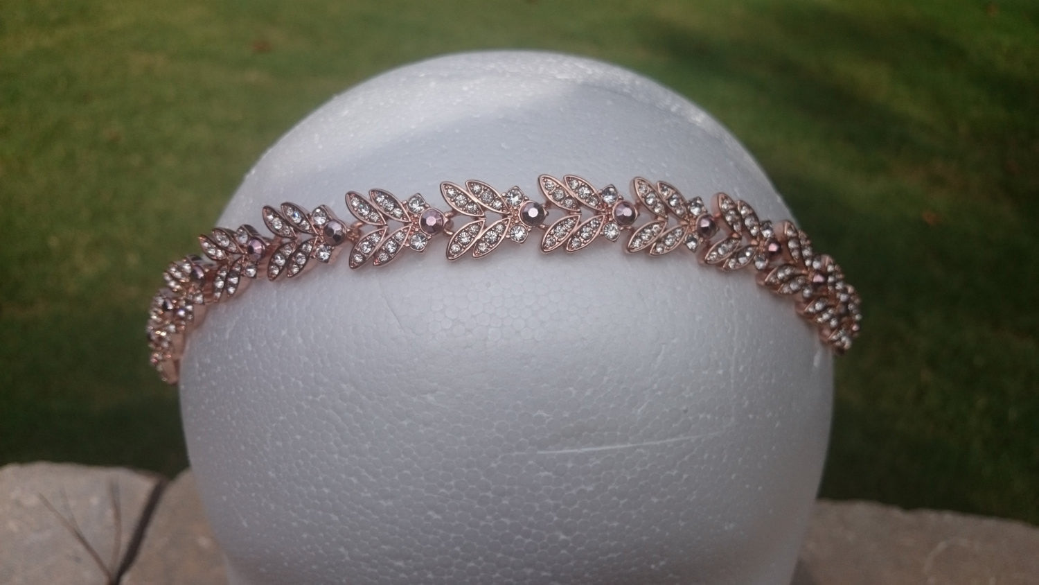Rose gold Bridal Headband Leaf and Flower Hair Accessory