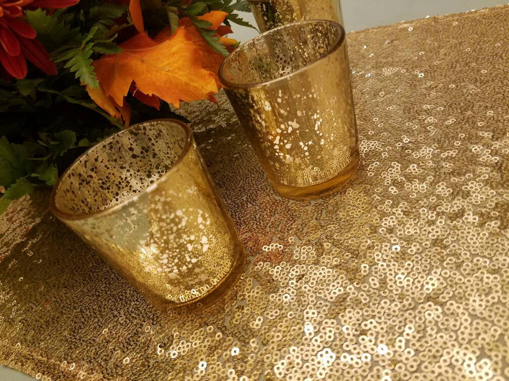 10 Gold Mercury Glass Votive Holders, Votive Candle, Candle Holder, tealight holder, vintage wedding, speckled glass