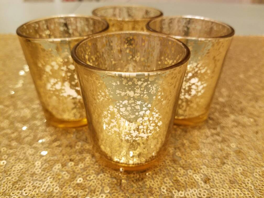 5 Gold Mercury Glass Votive Holders, Votive Candle, Candle Holder, tealight holder, vintage wedding, speckled glass, Holiday Decor Christmas