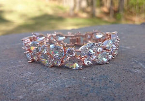 Rose Gold Bracelet, CZ Diamond Bridal statement bracelet, Wedding Cuff Bracelet, Dramatic Bridal Bracelet, Vintage inspired, Wedding