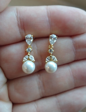 Bridal Earrings,Gold Pearl Drop Earrings, Long Bridal Earrings, Crystal Earrings, Gold Bridal Earrings, Gold Wedding Jewelry, Bridal Jewelry