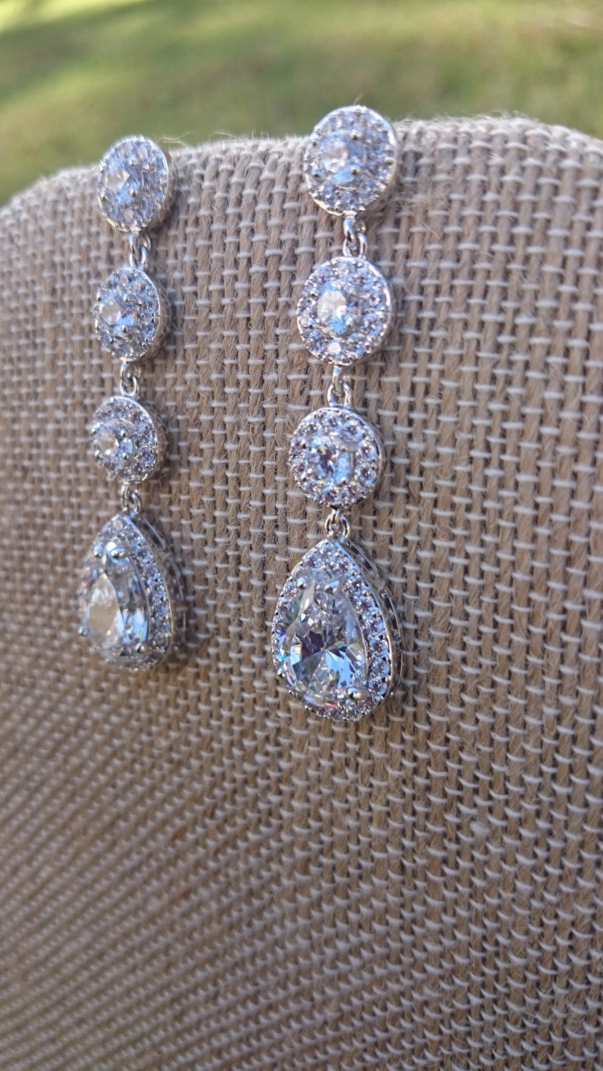Long Bridal Earrings, CZ Earrings, Diamond Bridal Earrings, Long Earrings, Cubic Zirconia, Wedding Earrings, Prom Pageant, Bridesmaid Gifts