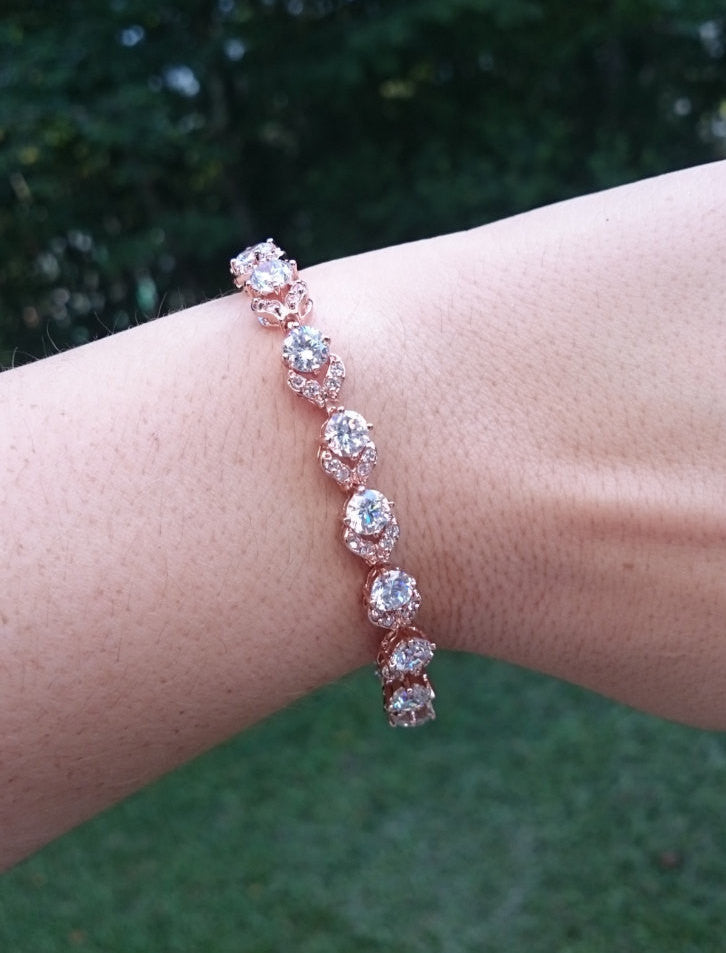 Rose Gold Bracelet, Bridal bracelet, wedding bracelet, cz bracelet, bridal jewelry, Tennis Bracelet, Flower, wedding accessories, gift