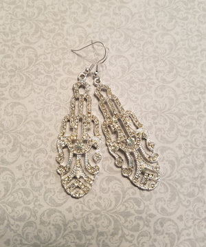 Art Deco Earrings Antique Style Silver Crystal Bridal Chandelier Earrings Great Gatsby Inspired 1920s CZ Cubic Zirconia