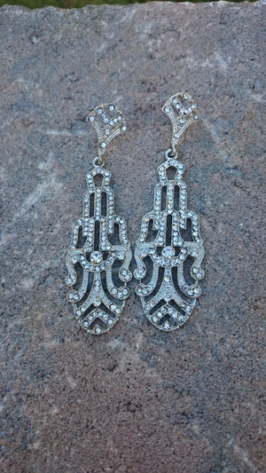 Art Deco Earrings, Antique Silver Crystal Bridal Chandelier Earrings Great Gatsby Style Art Deco Swarovski Crystal