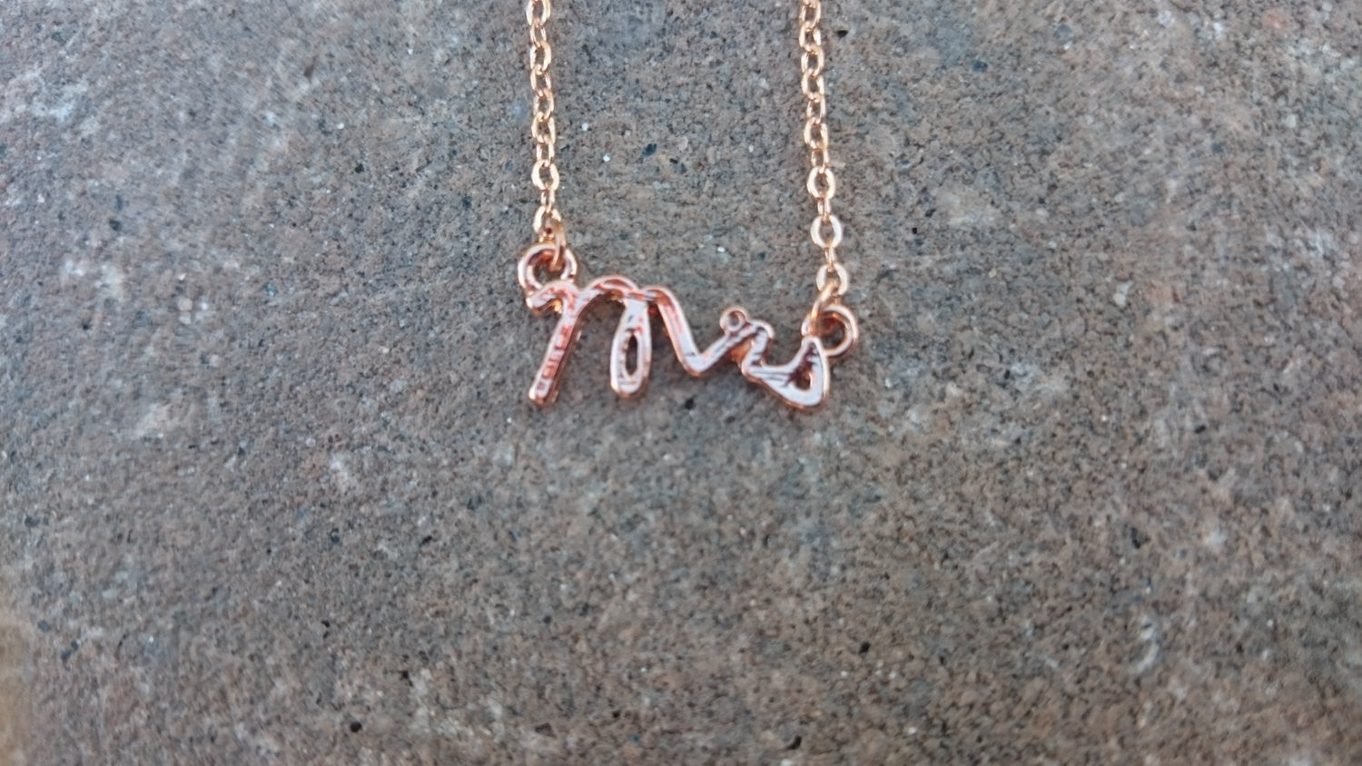 Rose gold MRS necklace, Mrs necklace, rose gold necklace Script Necklace chain Just married Gift Anniversary Gift