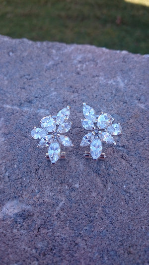 Bridal earrings, Wedding earrings, CZ earrings, cluster earrings, stud earrings, Christmas gift, bridesmaid gift