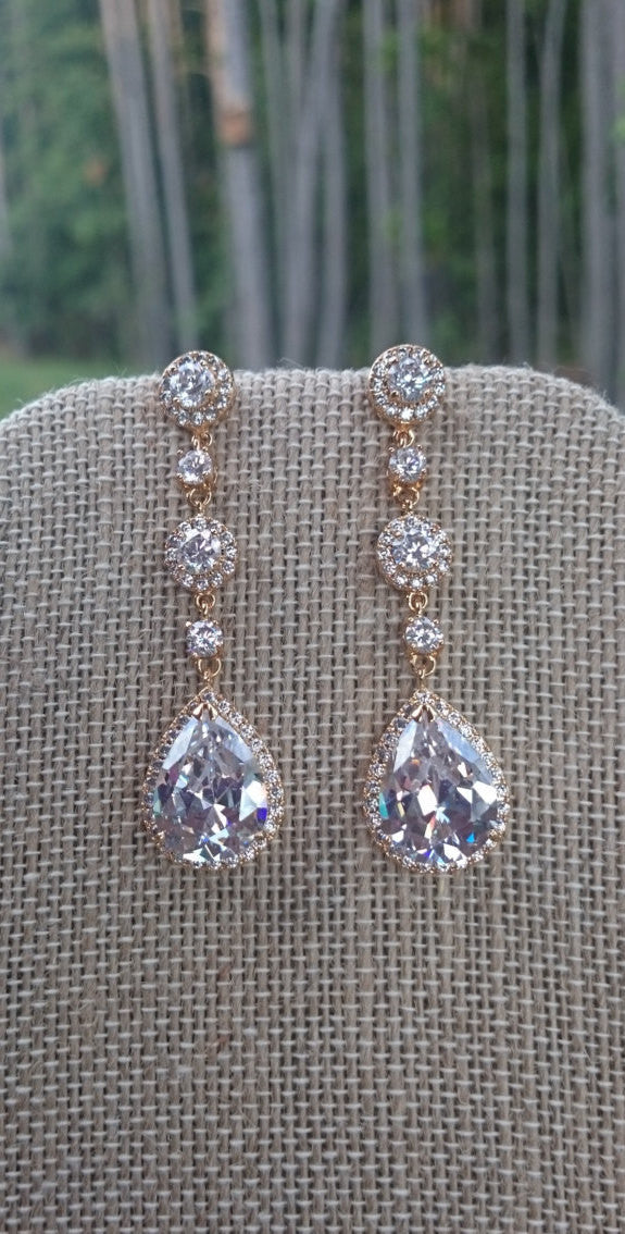 Bridal Earrings, CZ Earrings, Clip On, Bridesmaids Gift, Mother of the Bride, Earrings, Jewelry, Diamante, Diamond, Long earrings
