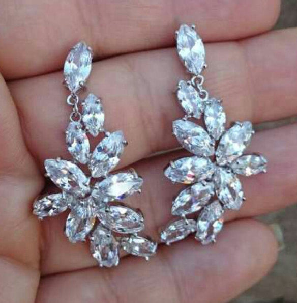 CZ Custer Bridal Earrings Cubic Zirconia Cluster Marquise Pear Cut 5 Carat Vintage Inspired CZ Statement Wedding Jewelry Bridesmaids
