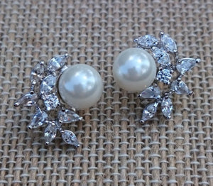 Vintage Inspired Pearl Stud Bridal Earrings CLassic Design CZ Cluster Wedding Earrings for the Bride or Bridesmaids Jewelry