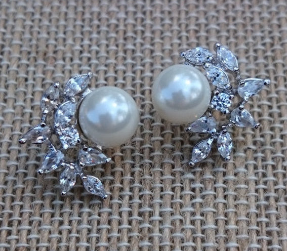 Pearl Stud Earrings, Classic Pearl CZ Cluster, Pearl Bridal, Pearl Earrings, Wedding Earrings, Bridesmaid Earrings, Gift