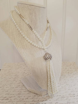 Pearl tassel necklace, Great Gatsby necklace, long pearl necklace, Daisy flapper necklace, roaring 20's