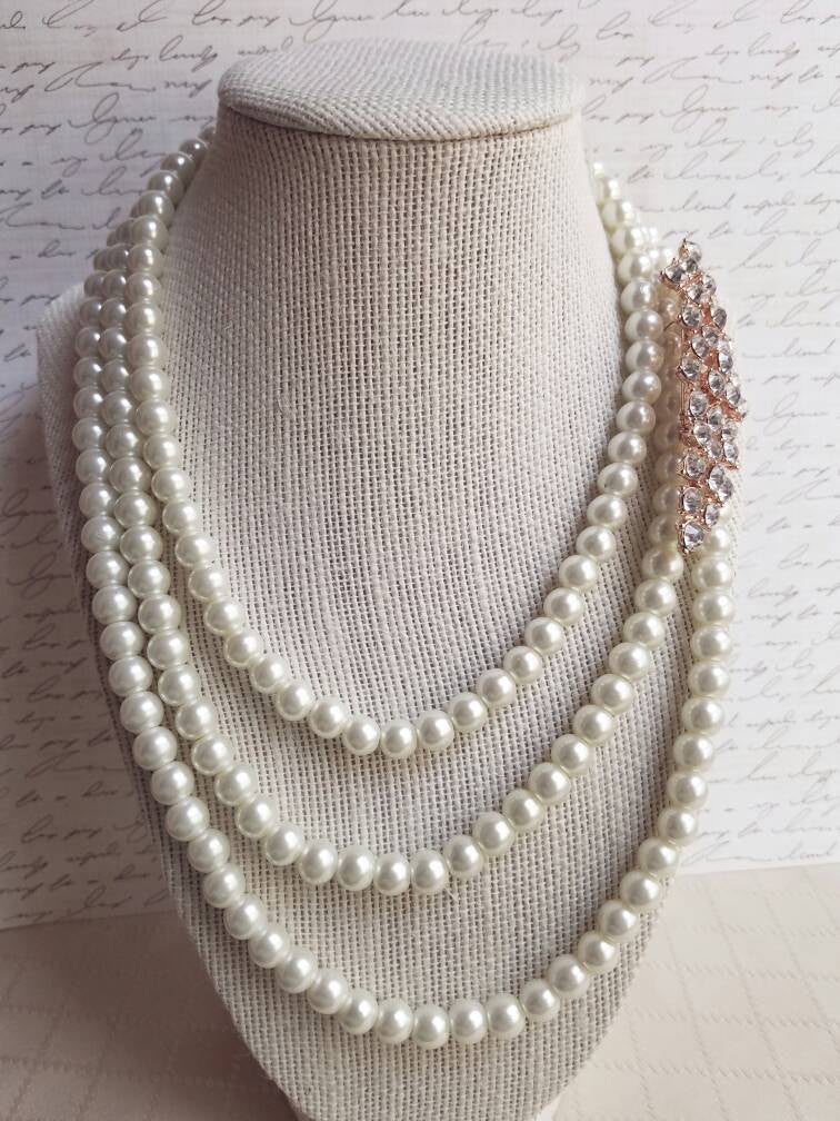 Rose Gold Brooch Pearl Bridal Necklace Wedding Statement Necklace Chunky necklace 3 strand multi strand ivory pearls