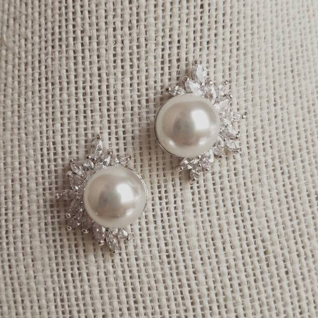 Vintage Inspired Pearl Bridal Earrings for a Wedding Bridesmaids Jewelry 1920's Style CZ Statement