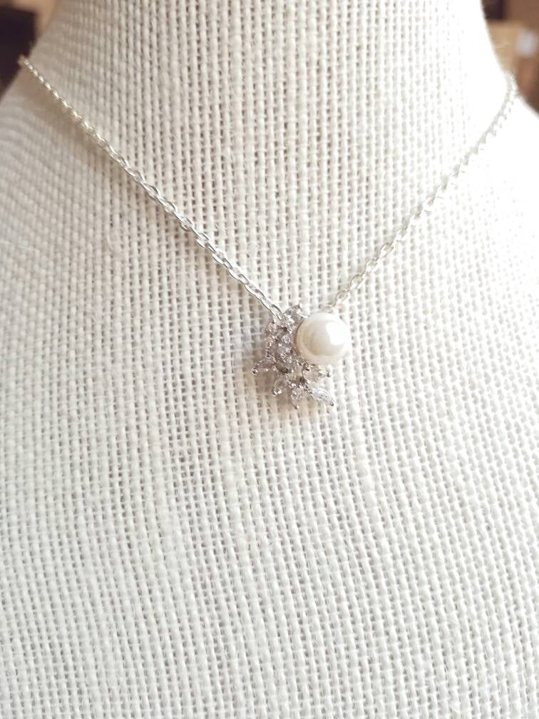 Pearl necklace CZ cluster Bridal Wedding necklace Bridesmaid gift pendant