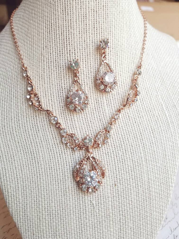 Rose Gold Jewelry set, Wedding jewelry set, Crystal necklace, necklace earrings, Bridal, Bridesmaid gift, Bridesmaid jewelry Plus Size