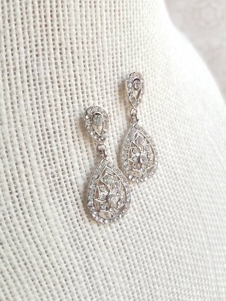 Art Deco earrings Bridal Wedding earrings micro pave vintage style 1920s Great Gatsby pendant necklace jewelry set