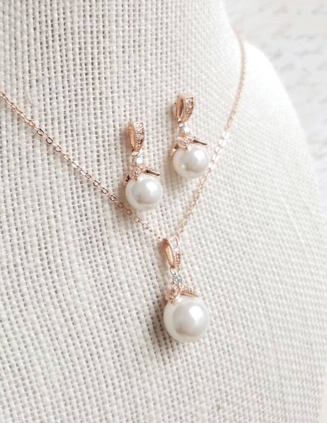 Rose Gold Jewelry Rose Gold Jewelry Set Rose Gold Pearl Jewelry