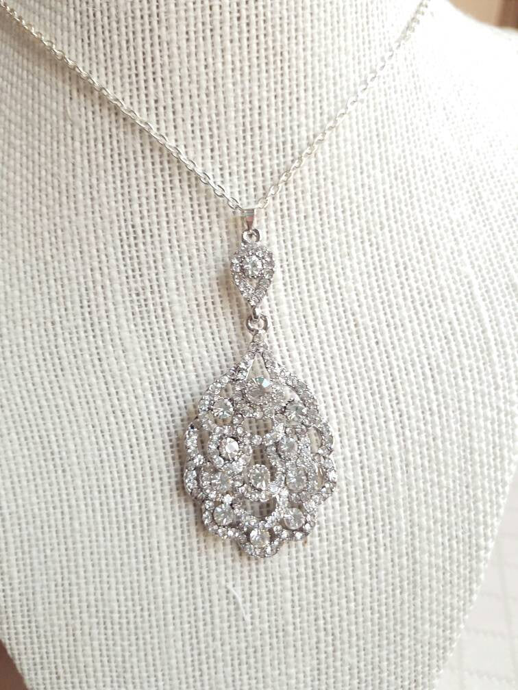 Vintage style pendant necklace, Art Deco, Bridal necklace, wedding necklace, Antique, Bridesmaids jewelry, great gatsby